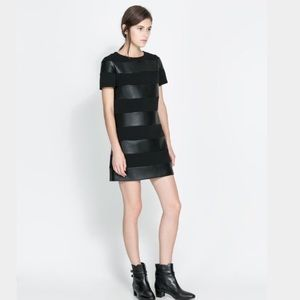 Zara Faux Leather Striped Black Short Sleeve Dress